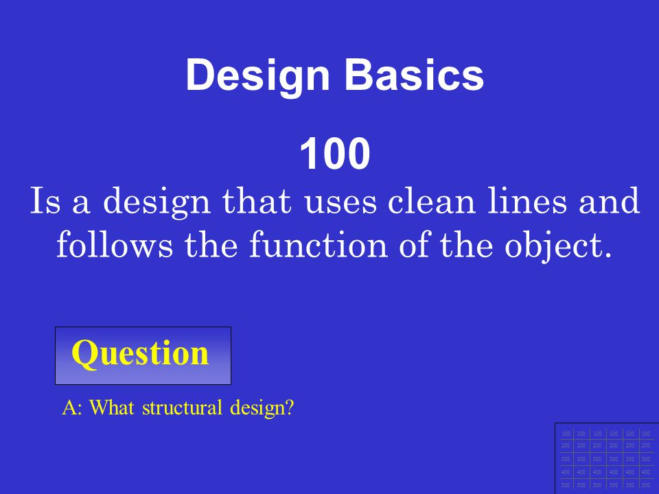 Design Basics 100. Is a design that uses clean lines and follows the function of the object. Question.