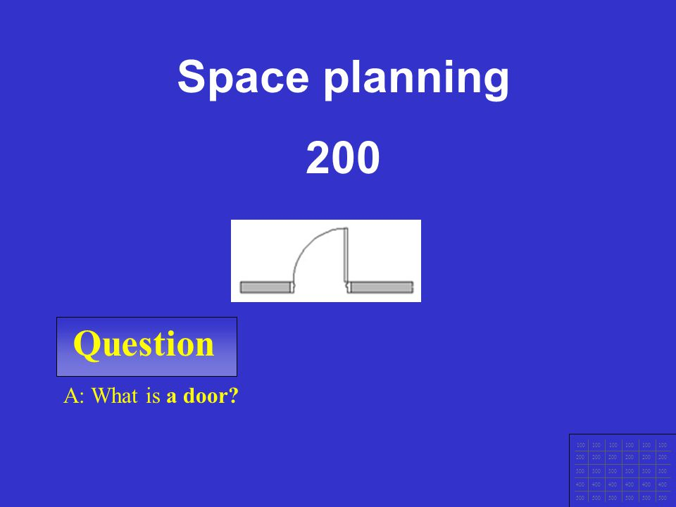 Space planning 200 Question A: What is a door 100 200 300 400 500
