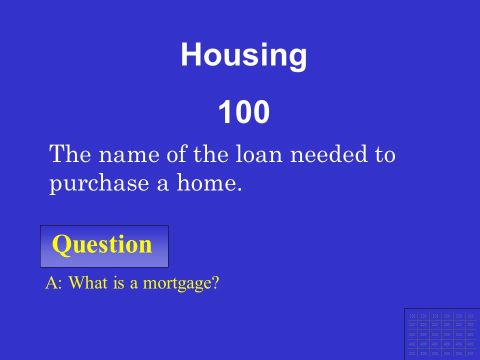 Housing 100 Question The name of the loan needed to purchase a home.
