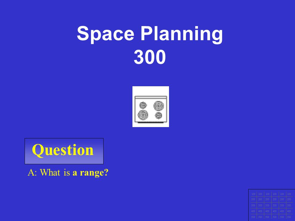 Space Planning 300 Question A: What is a range 100 200 300 400 500