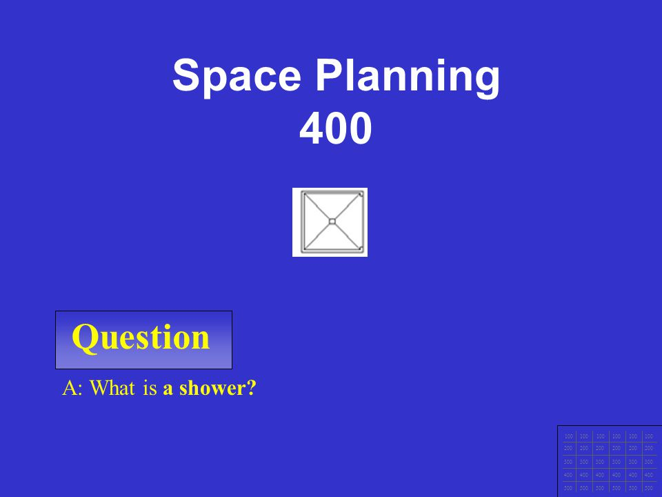 Space Planning 400 Question A: What is a shower 100 200 300 400 500
