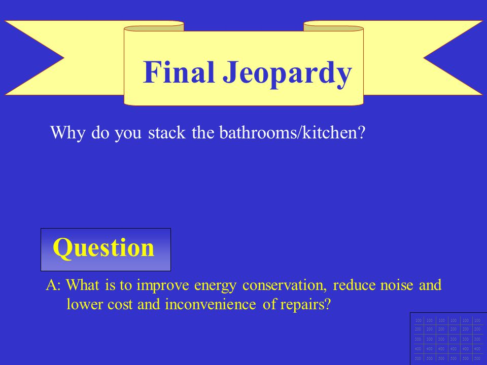 Final Jeopardy Question Why do you stack the bathrooms/kitchen