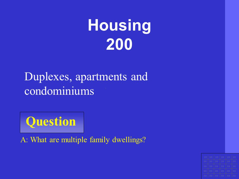 Housing 200 Question Duplexes, apartments and condominiums