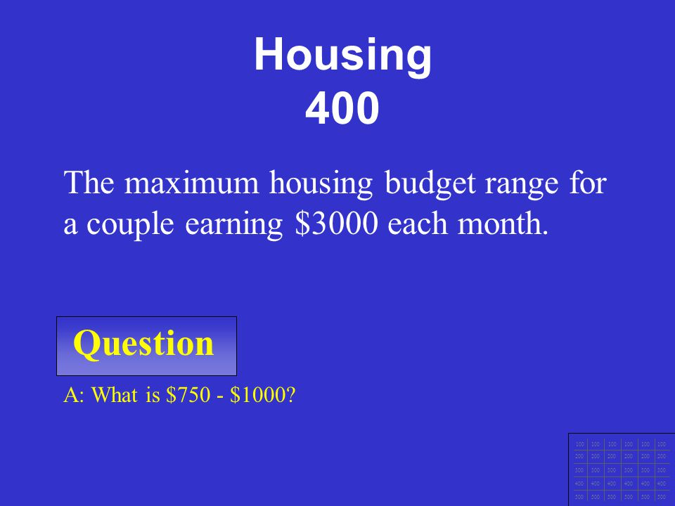 Housing 400 The maximum housing budget range for a couple earning $3000 each month. Question. A: What is $750 - $1000