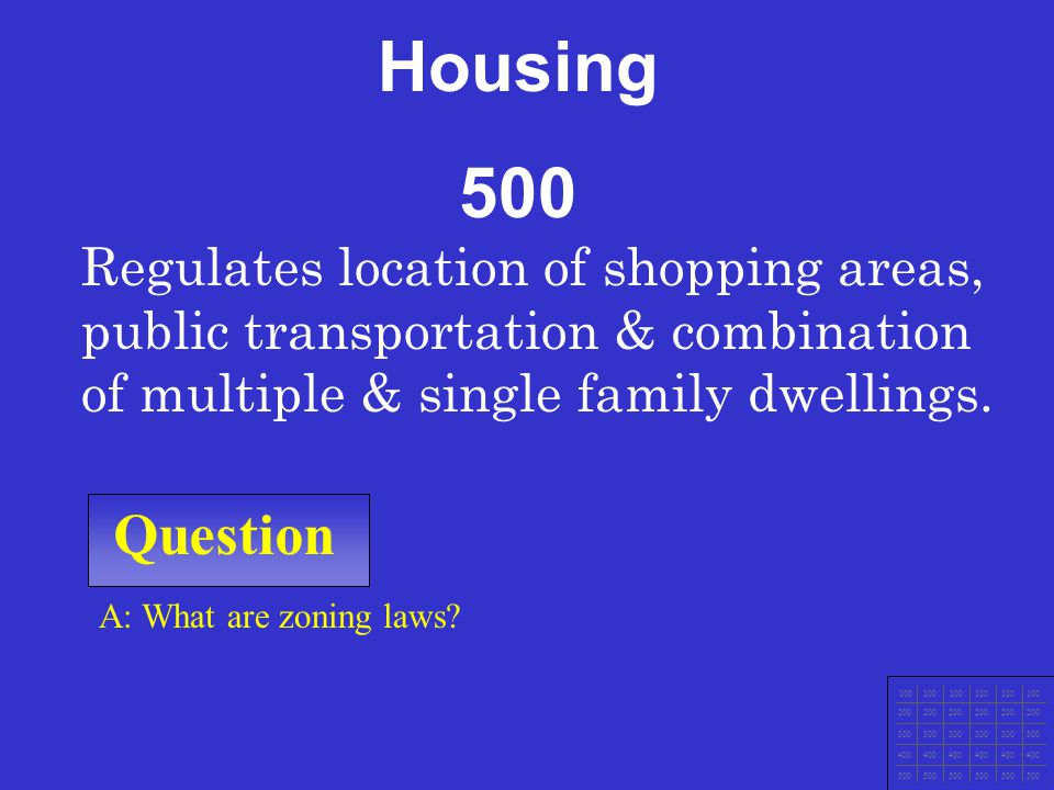 Housing 500. Regulates location of shopping areas, public transportation & combination of multiple & single family dwellings.