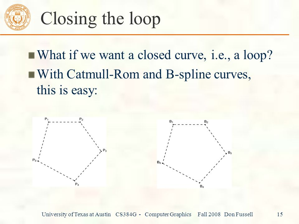 Closing the loop What if we want a closed curve, i.e., a loop