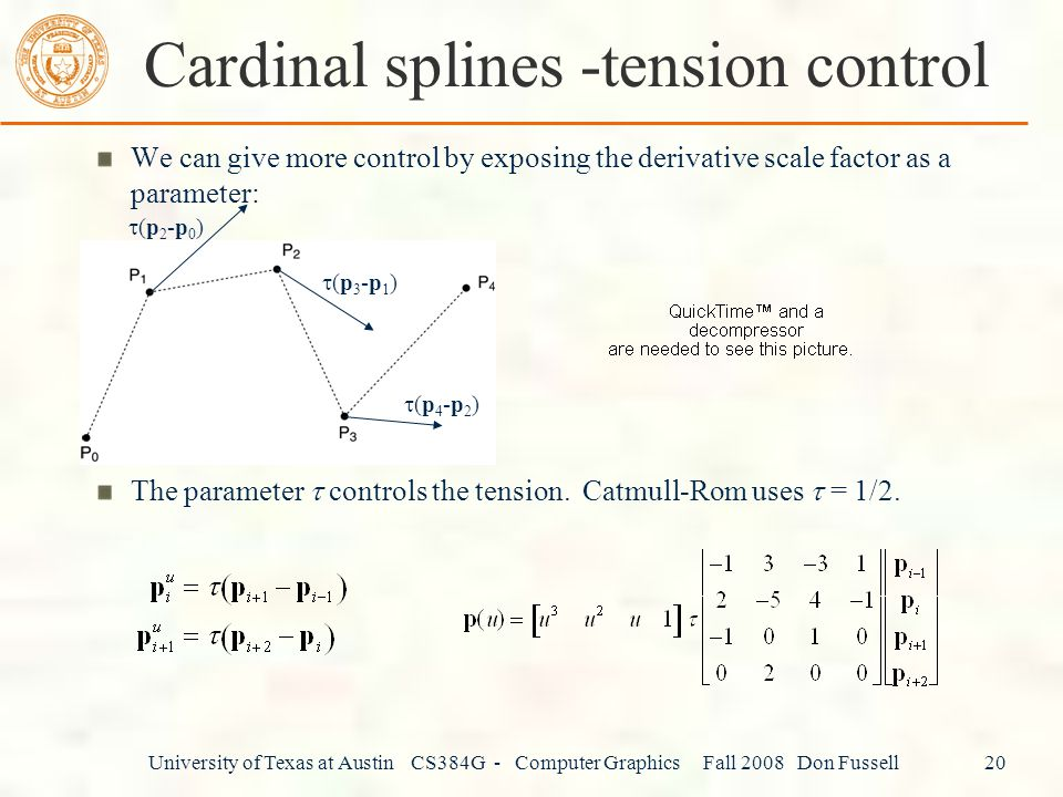 Cardinal splines -tension control