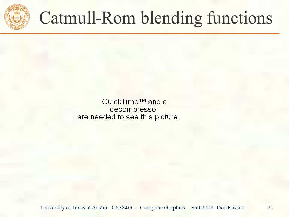 Catmull-Rom blending functions