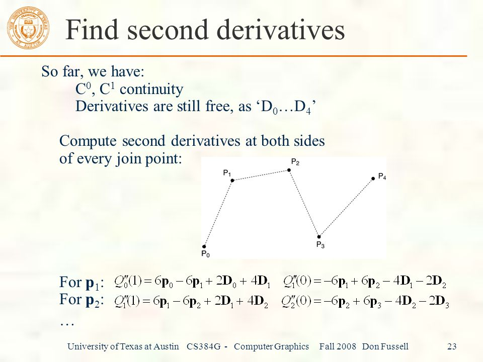 Find second derivatives