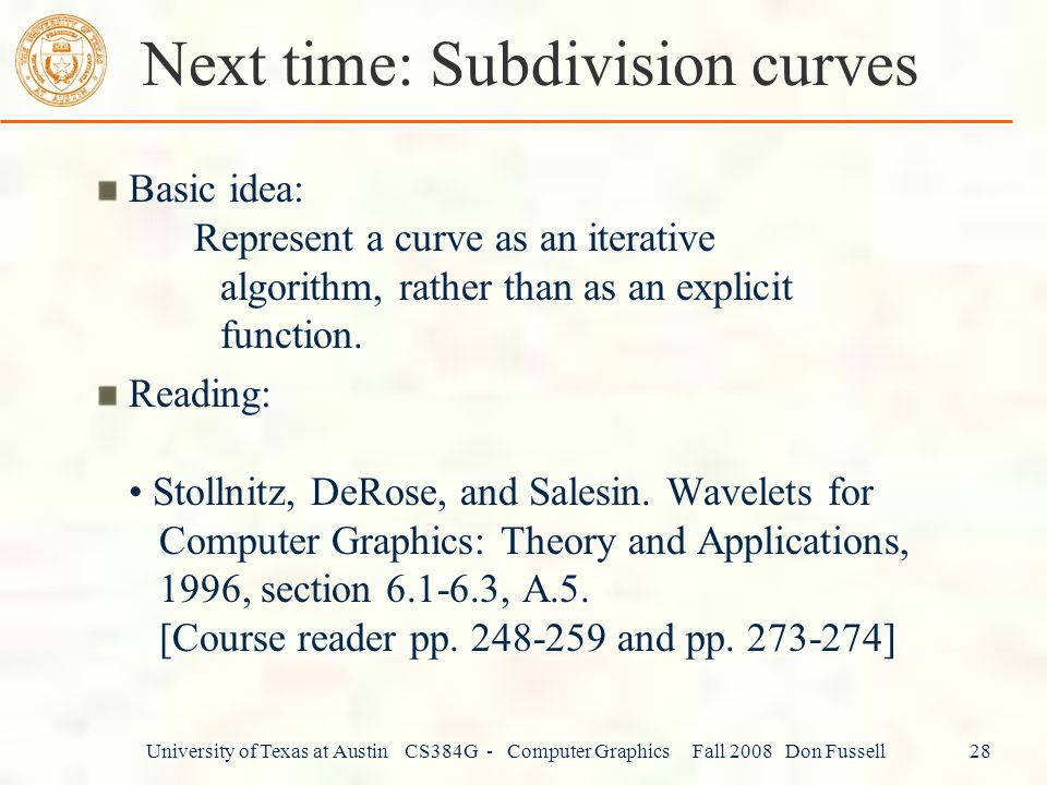 Next time: Subdivision curves