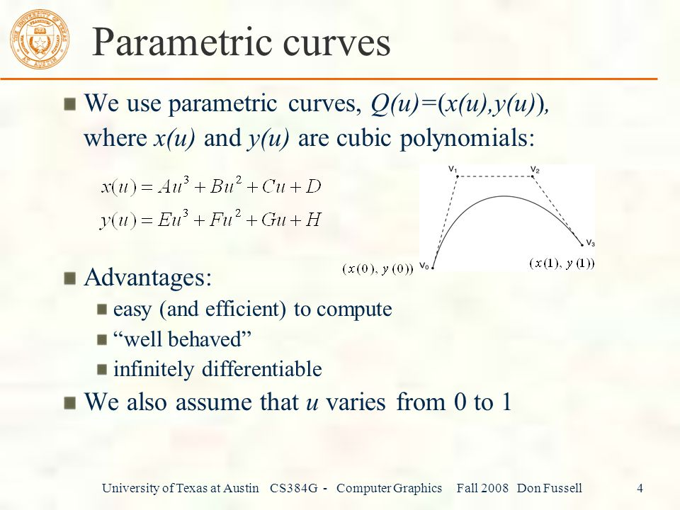 Parametric curves We use parametric curves, Q(u)=(x(u),y(u)),