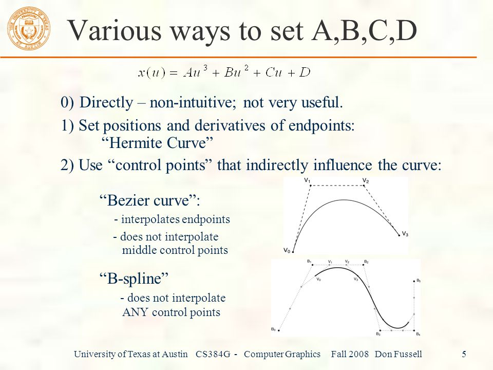 Various ways to set A,B,C,D