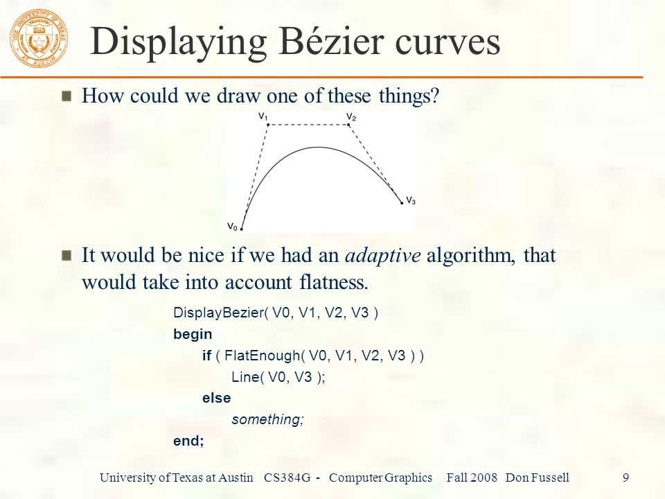Displaying Bézier curves
