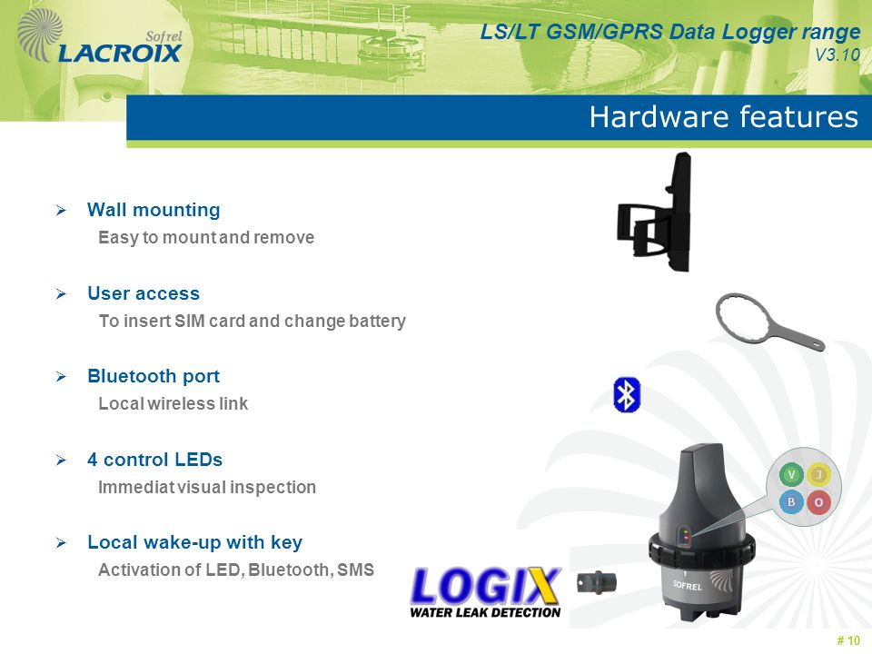 Hardware features Wall mounting User access Bluetooth port
