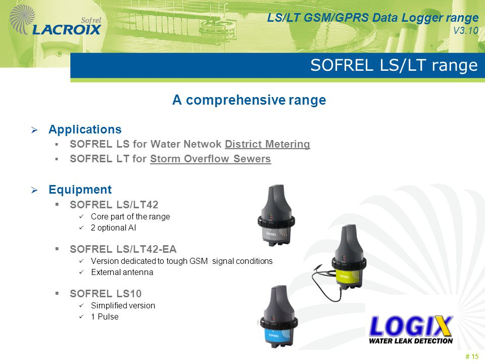 SOFREL LS/LT range A comprehensive range Applications Equipment