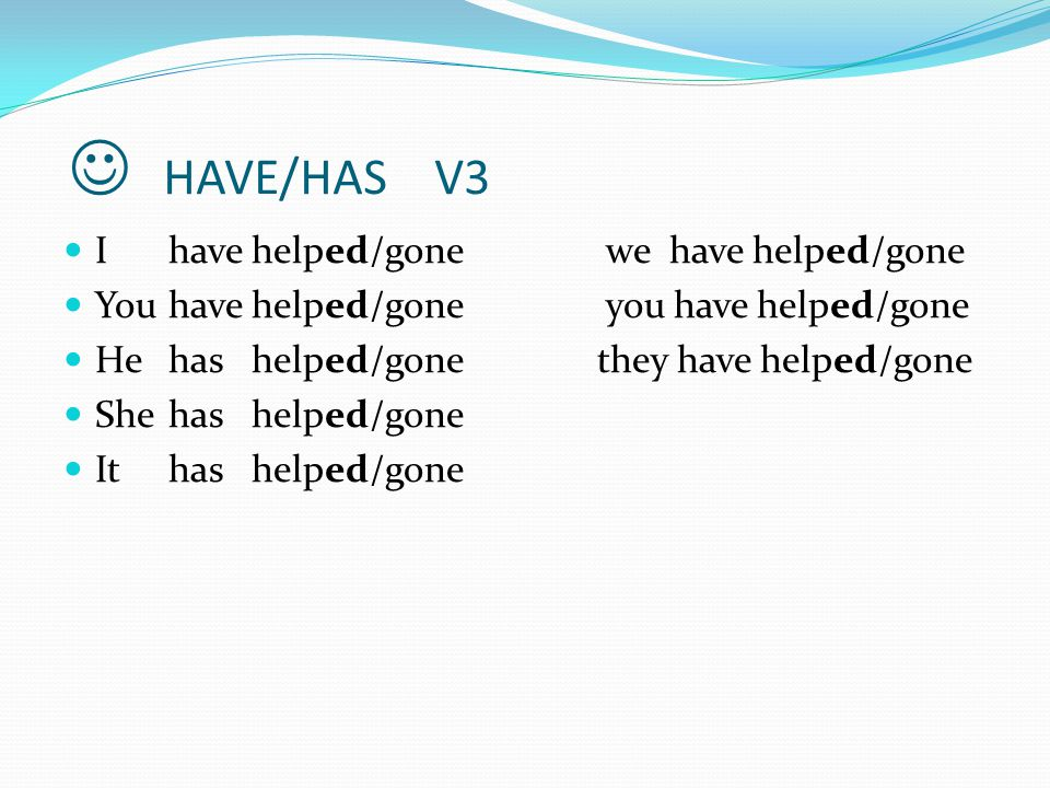  HAVE/HAS V3 I have helped/gone we have helped/gone