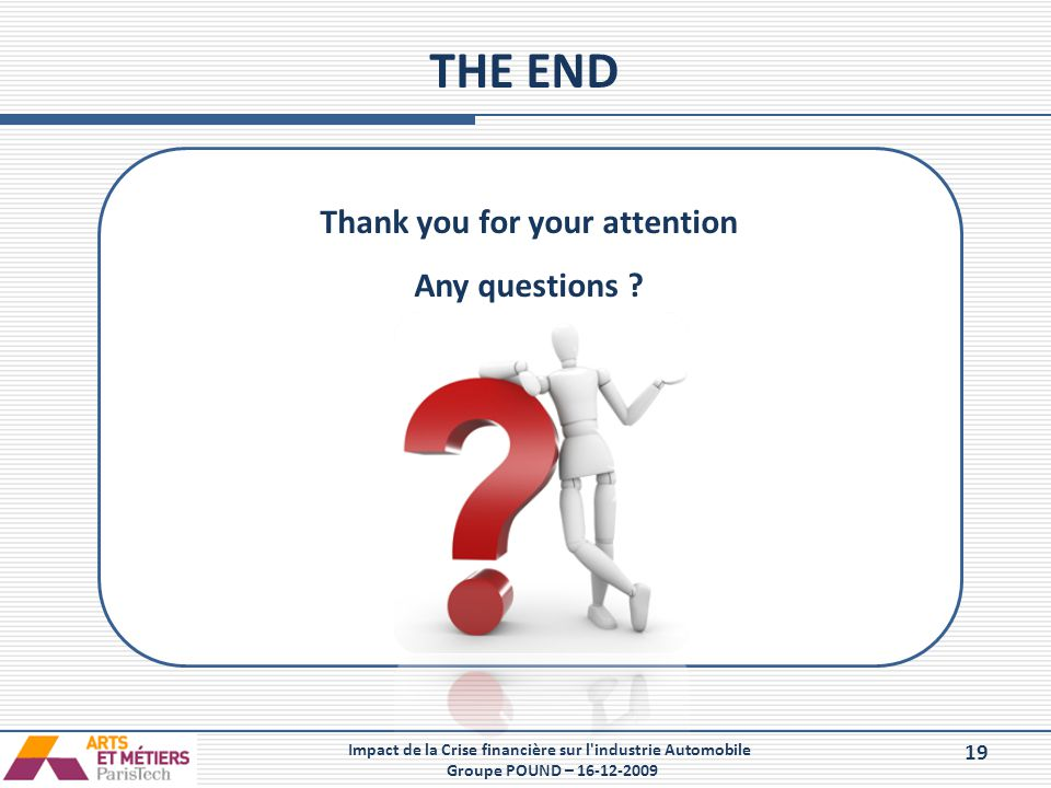 THE END Thank you for your attention Any questions