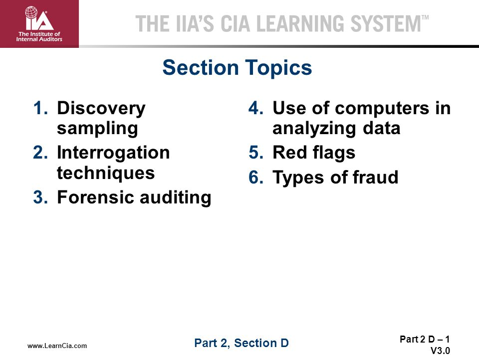 Section Topics Discovery sampling Interrogation techniques