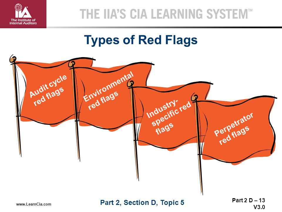 Types of Red Flags Audit cycle red flags Environmental red flags