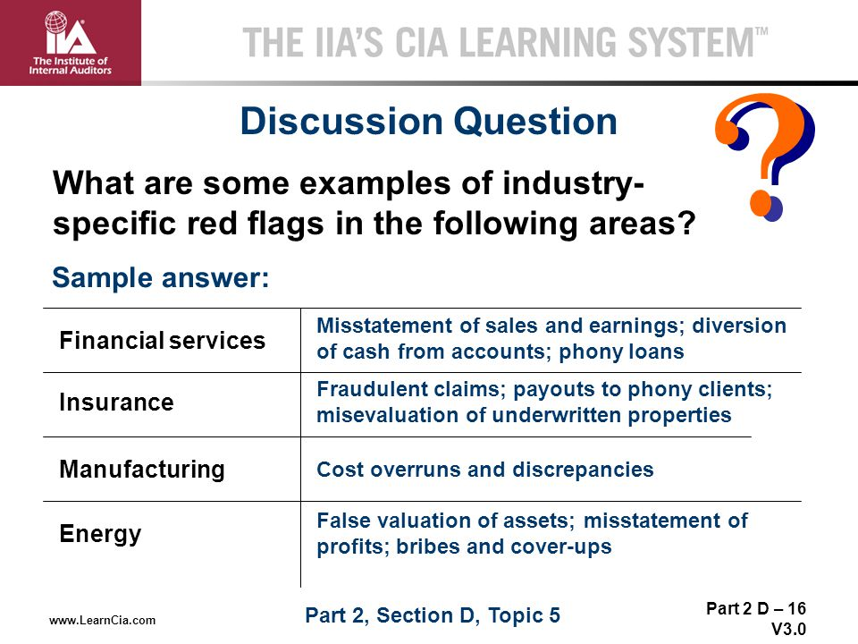 Discussion Question What are some examples of industry-specific red flags in the following areas Sample answer: