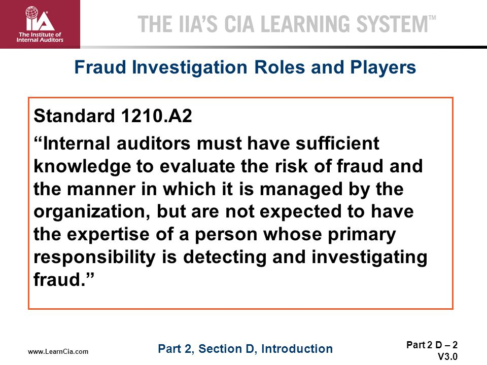 Fraud Investigation Roles and Players Part 2, Section D, Introduction