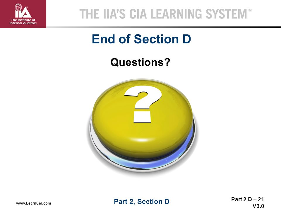 End of Section D Questions Part 2, Section D