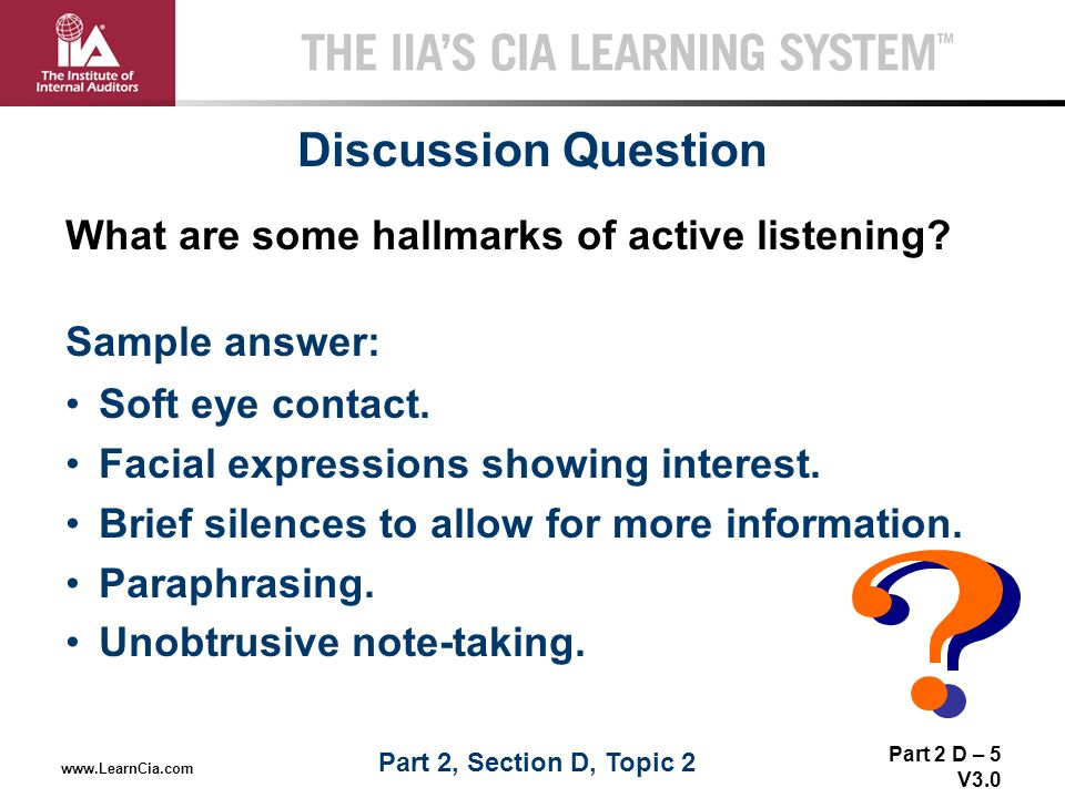 Discussion Question What are some hallmarks of active listening