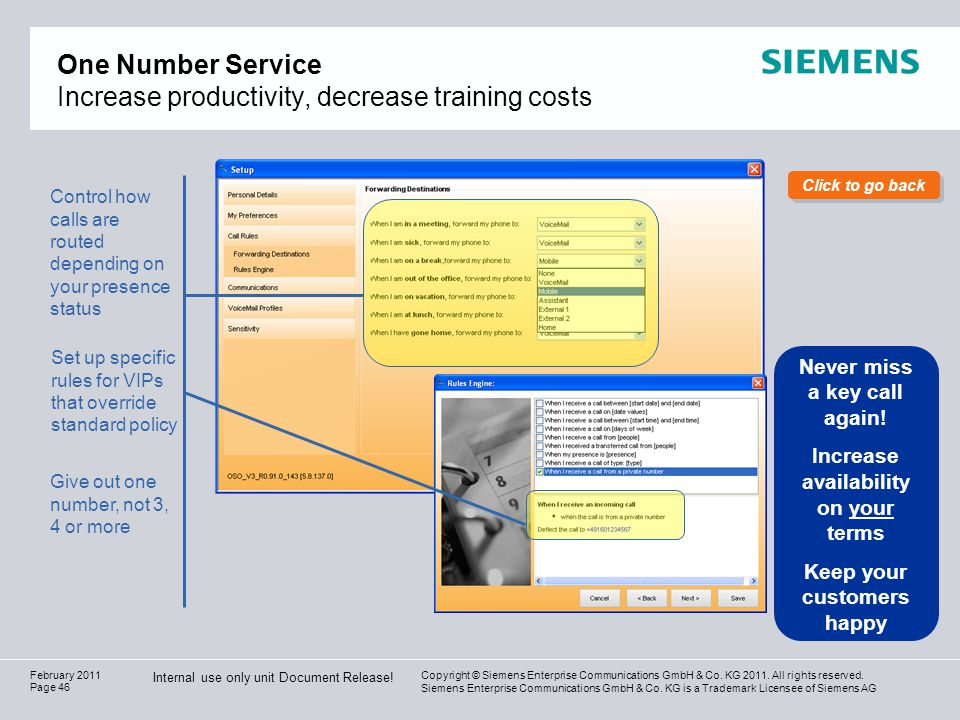 One Number Service Increase productivity, decrease training costs