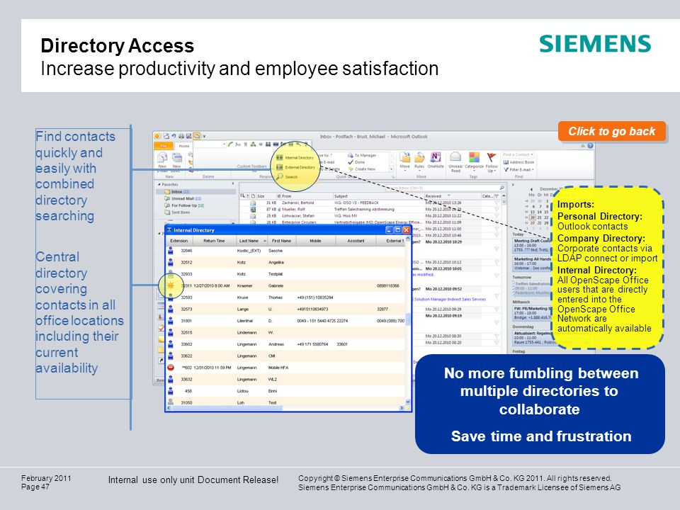 Directory Access Increase productivity and employee satisfaction