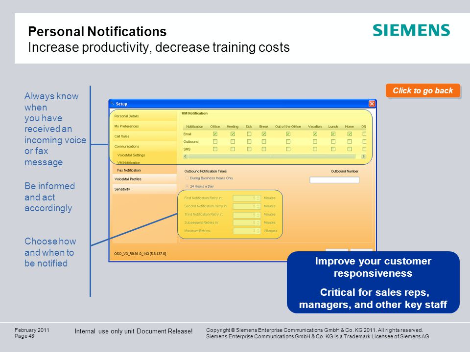 Personal Notifications Increase productivity, decrease training costs