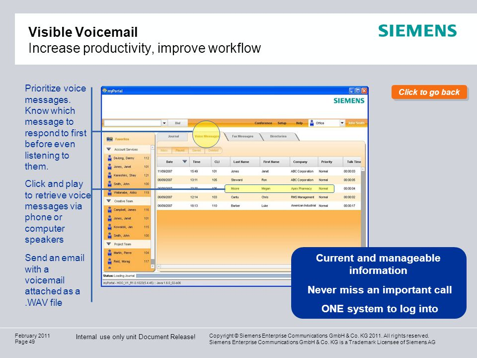 Visible Voicemail Increase productivity, improve workflow