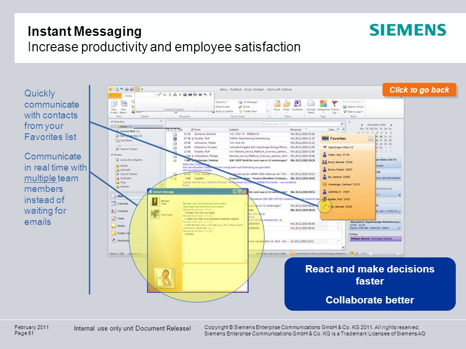 Instant Messaging Increase productivity and employee satisfaction