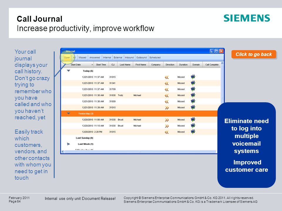 Call Journal Increase productivity, improve workflow