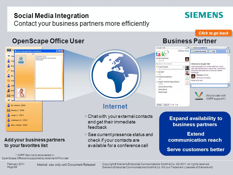 OpenScape Office User Business Partner Internet