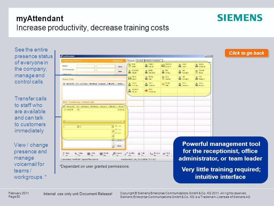 myAttendant Increase productivity, decrease training costs