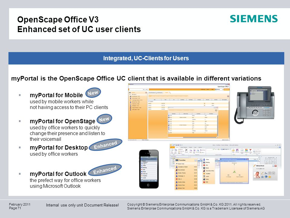 OpenScape Office V3 Enhanced set of UC user clients