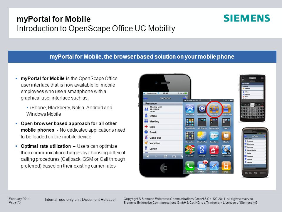 myPortal for Mobile Introduction to OpenScape Office UC Mobility