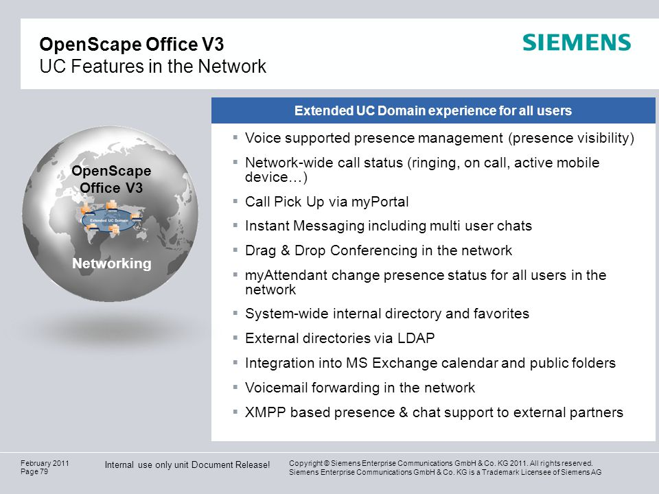 OpenScape Office V3 UC Features in the Network