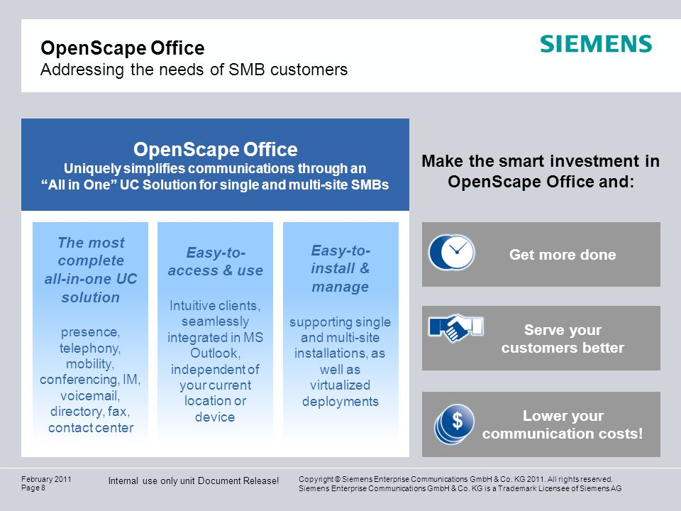 OpenScape Office Addressing the needs of SMB customers