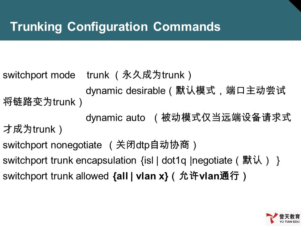 Trunking Configuration Commands