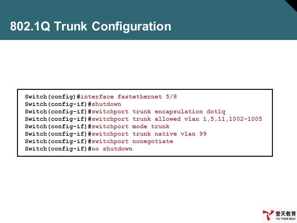 802.1Q Trunk Configuration