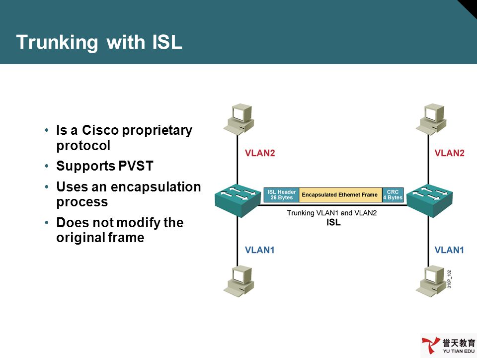 Trunking with ISL Is a Cisco proprietary protocol Supports PVST