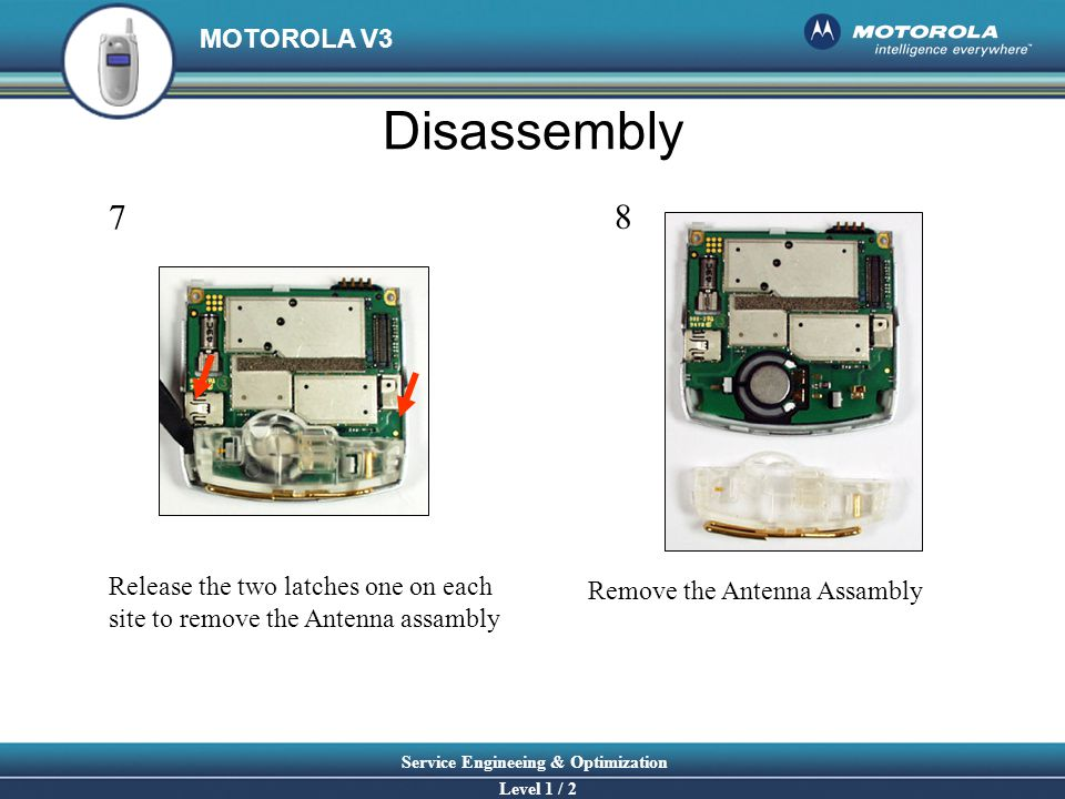 Disassembly 7 8 Release the two latches one on each
