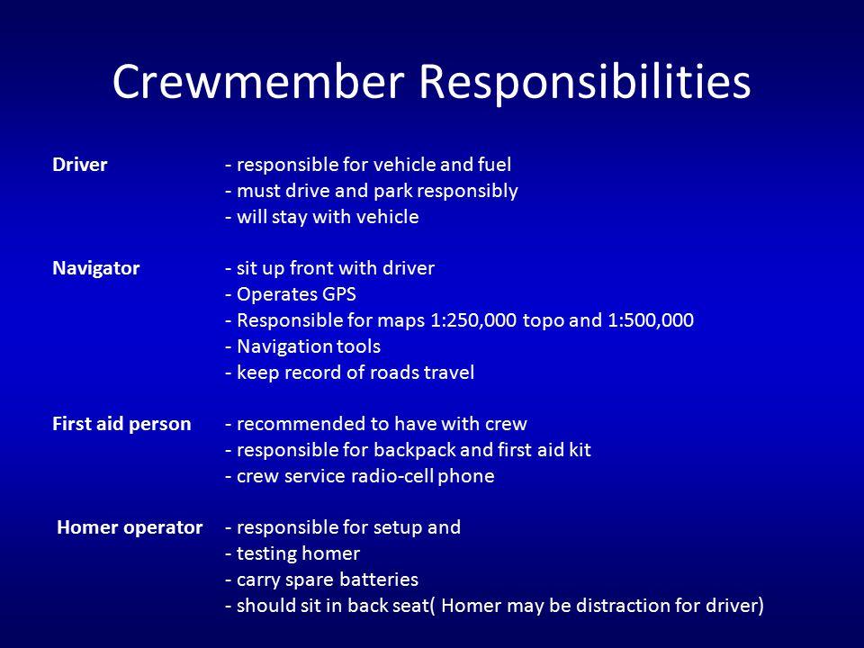 Crewmember Responsibilities