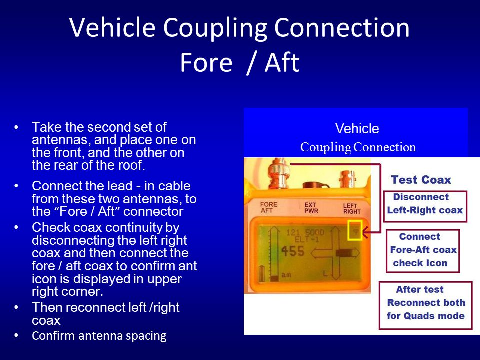 Vehicle Coupling Connection Fore / Aft