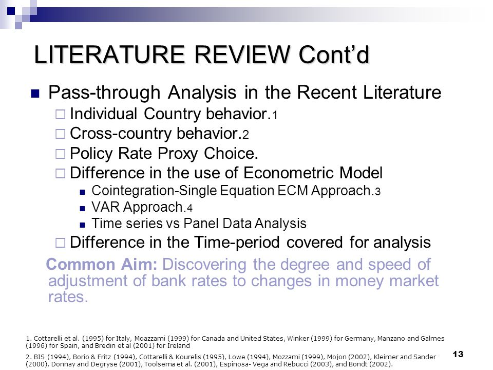 LITERATURE REVIEW Cont'd