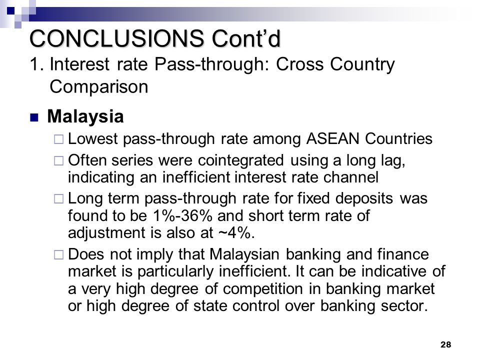 CONCLUSIONS Cont'd 1. Interest rate Pass-through: Cross Country Comparison