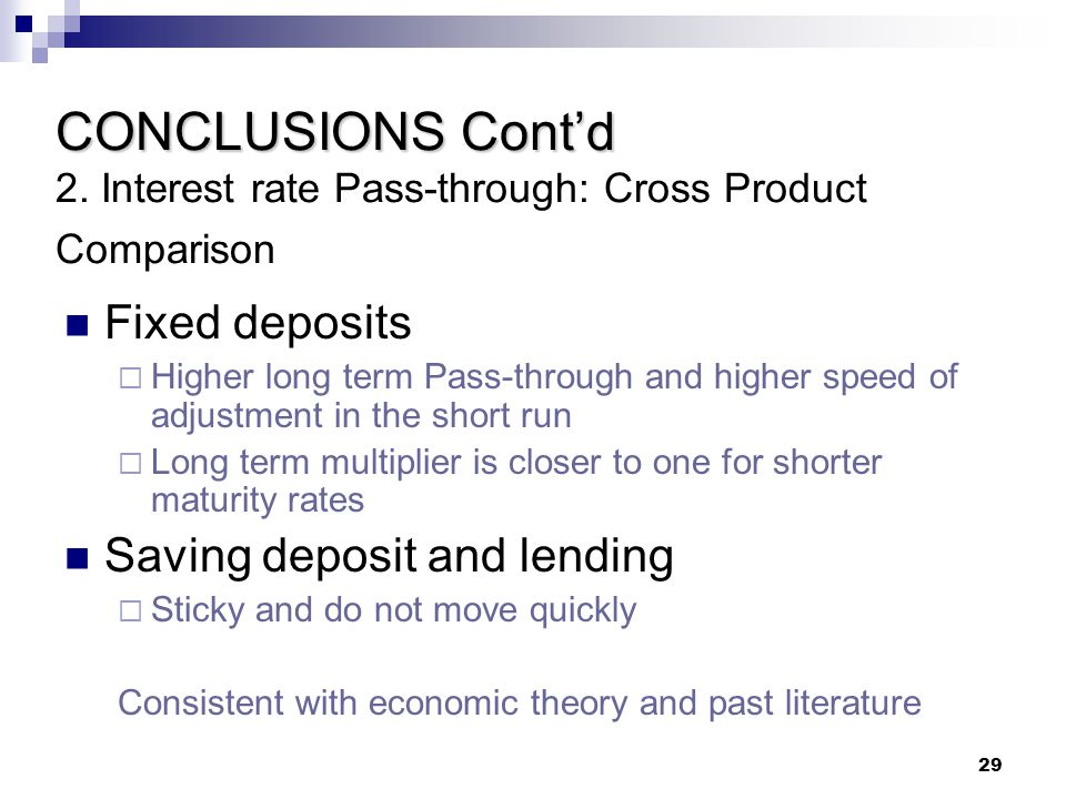 CONCLUSIONS Cont'd 2. Interest rate Pass-through: Cross Product Comparison