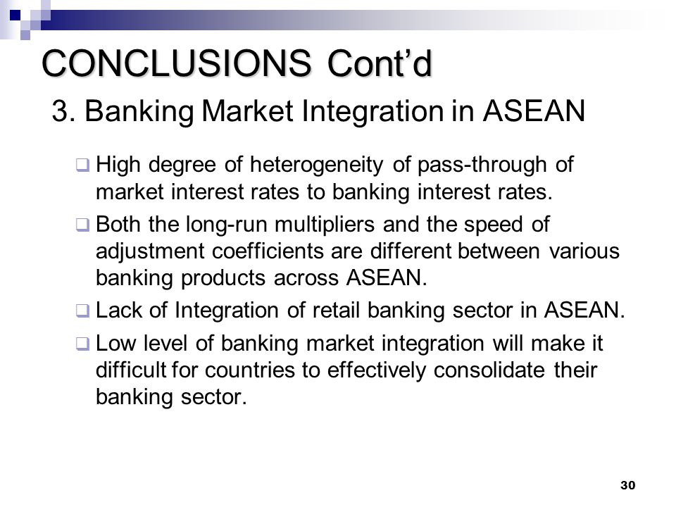 CONCLUSIONS Cont'd 3. Banking Market Integration in ASEAN