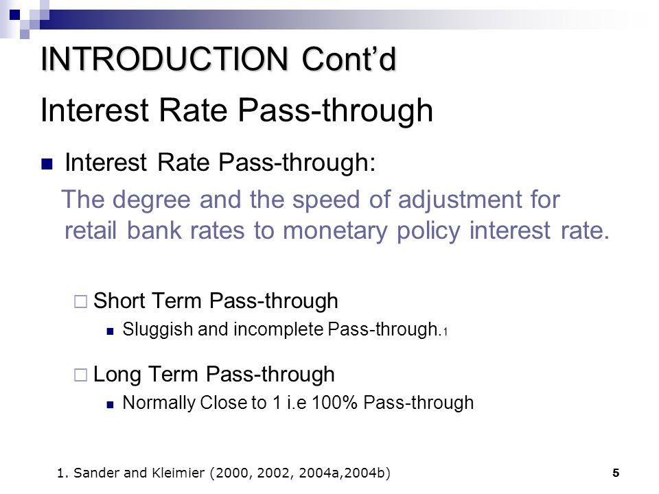 Interest Rate Pass-through